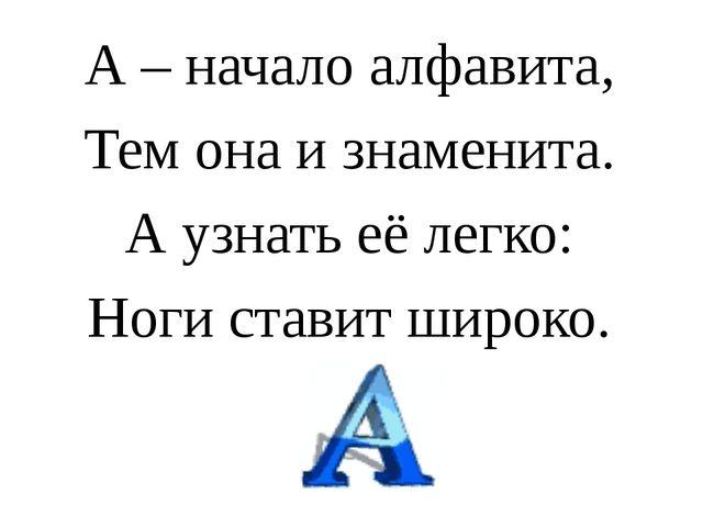 А – начало алфавита, Тем она и знаменита. А узнать её легко: Ноги ставит шир...