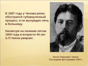 В 1897 году у Чехова резко обострился туберкулезный процесс, и он вынужден ле
