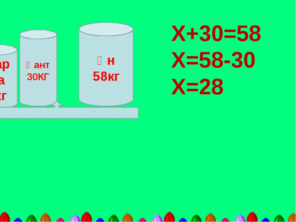 Ұн 58кг Қант 30КГ Жарма Хкг Х+30=58 Х=58-30 Х=28