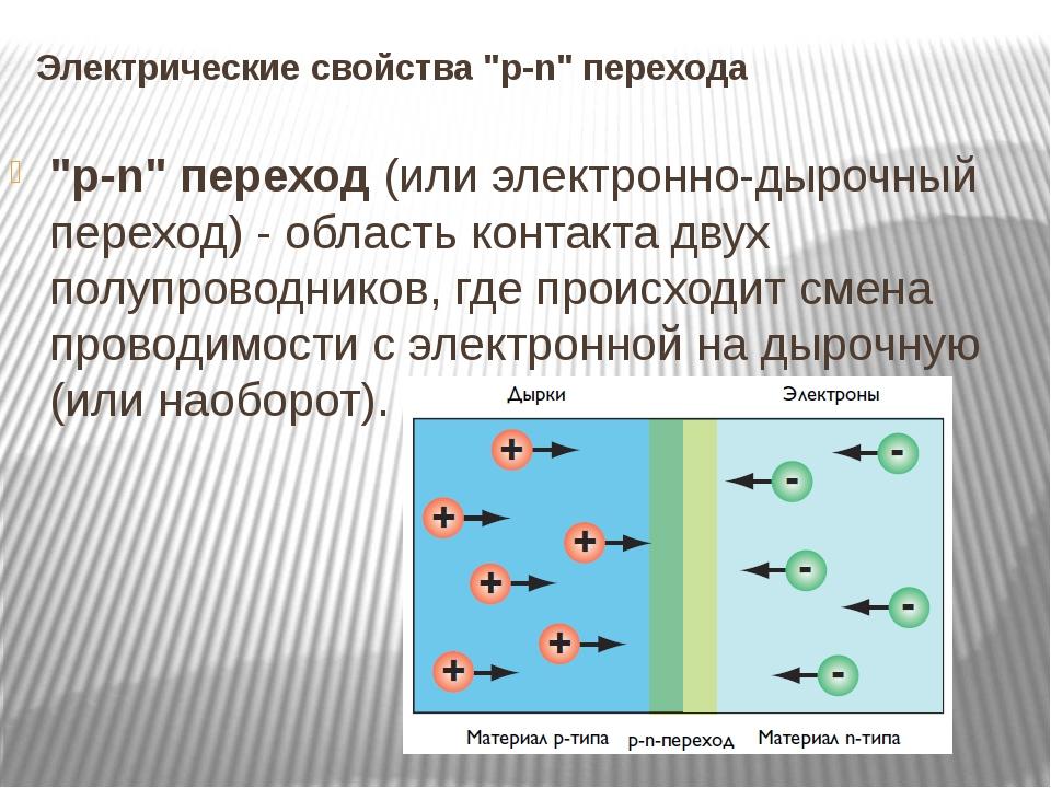 """Электрические свойства """"p-n"""" перехода """"p-n"""" переход (или электронно-дырочный..."""
