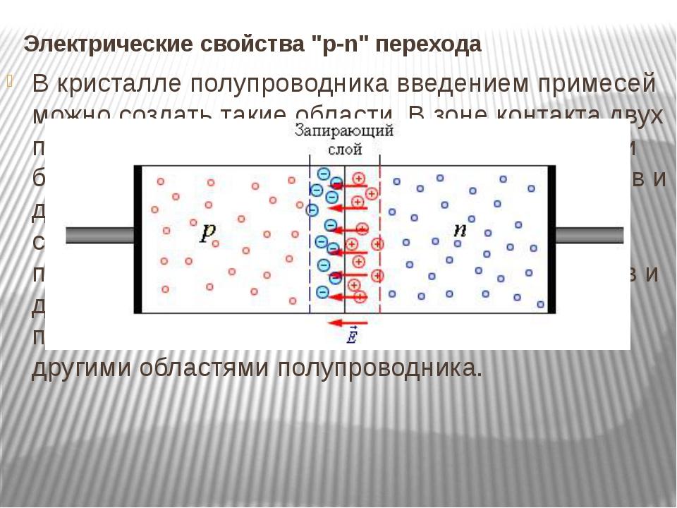 В кристалле полупроводника введением примесей можно создать такие области. В...