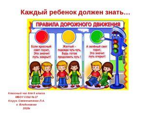 Каждый ребенок должен знать… Классный час для 6 класса МБОУ СОШ №17 Кл.рук. С