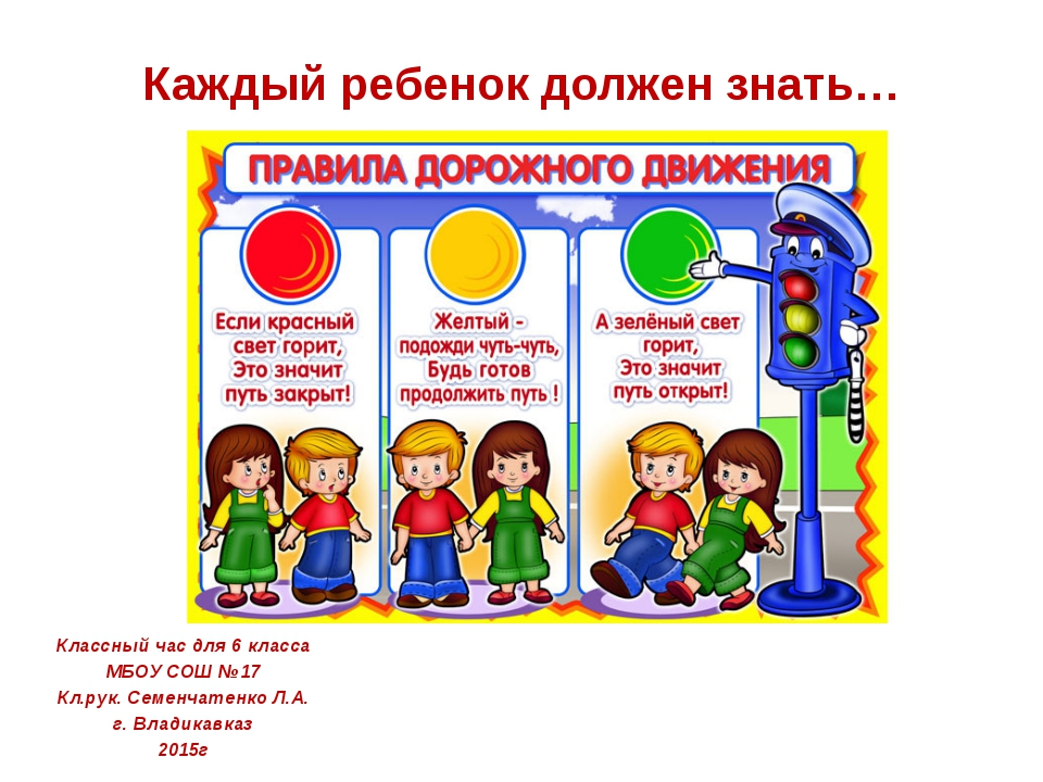 Каждый ребенок должен знать… Классный час для 6 класса МБОУ СОШ №17 Кл.рук. С...