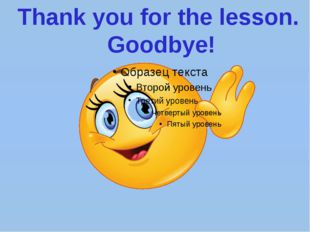 Thank you for the lesson. Goodbye!