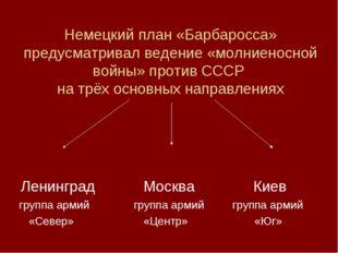 Немецкий план «Барбаросса» предусматривал ведение «молниеносной войны» против
