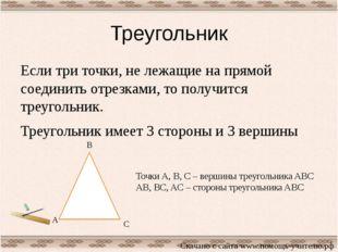 Треугольник Если три точки, не лежащие на прямой соединить отрезками, то полу