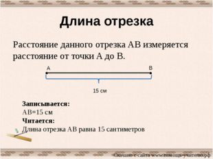 Длина отрезка Расстояние данного отрезка AB измеряется расстояние от точки A