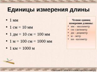 Единицы измерения длины 1 мм 1 см = 10 мм 1 дм = 10 см = 100 мм 1 м = 100 см