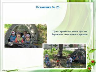 Остановка № 25. Цель: прививать детям чувство бережного отношения к природе.