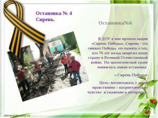 Остановка № 4 Сирень. Остановка№6 В ДОУ в мае прошла акция «Сирень Победы» .