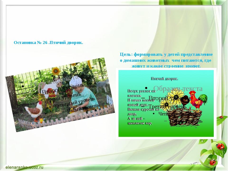 Остановка № 26 .Птичий дворик. Цель: формировать у детей представление о дом...