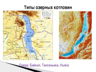Типы озерных котловин А) тектонические в разломах Озера: Байкал, Танганьика,