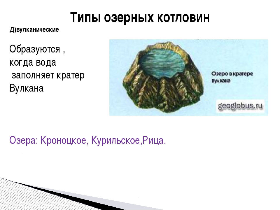 Типы озерных котловин Д)вулканические Образуются , когда вода заполняет крате...