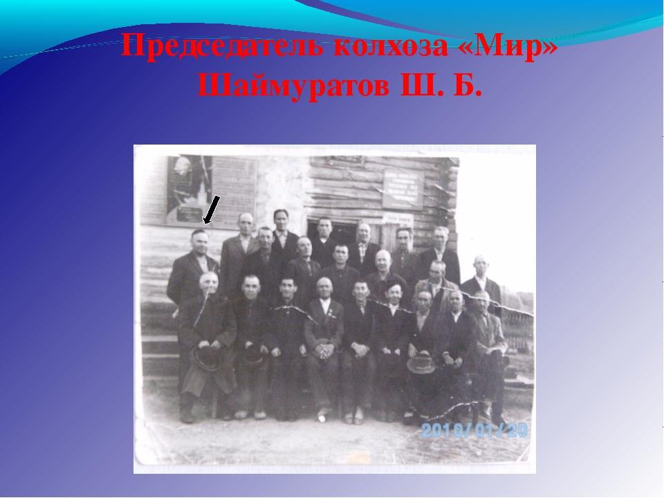Председатель колхоза «Мир» Шаймуратов Ш. Б.