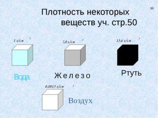 Вода Ртуть Железо Воздух 7,8 г/см 13,6 г/см 0,0013 г/см 1 г/см 3 3 3 3 10 Пл