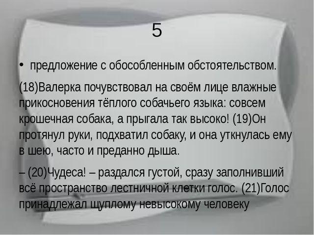 5 предложение с обособленным обстоятельством. (18)Валерка почувствовал на сво...