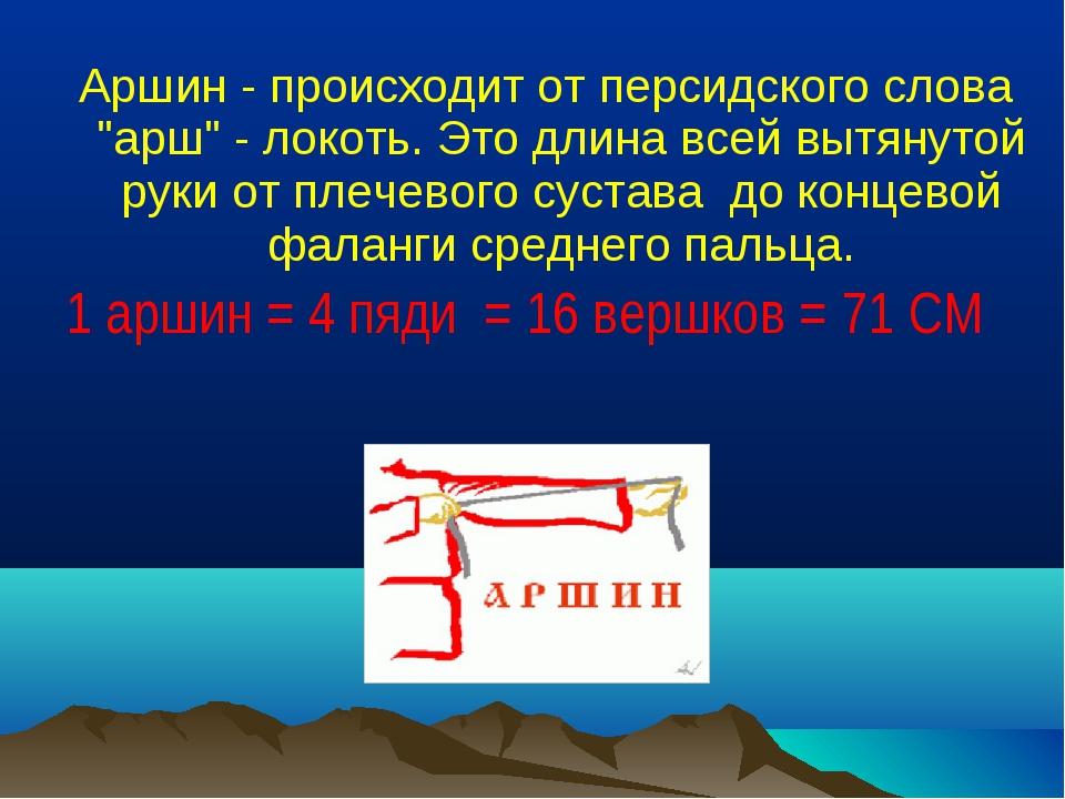 """Аршин - происходит от персидского слова """"арш"""" - локоть. Это длина всей вытян..."""