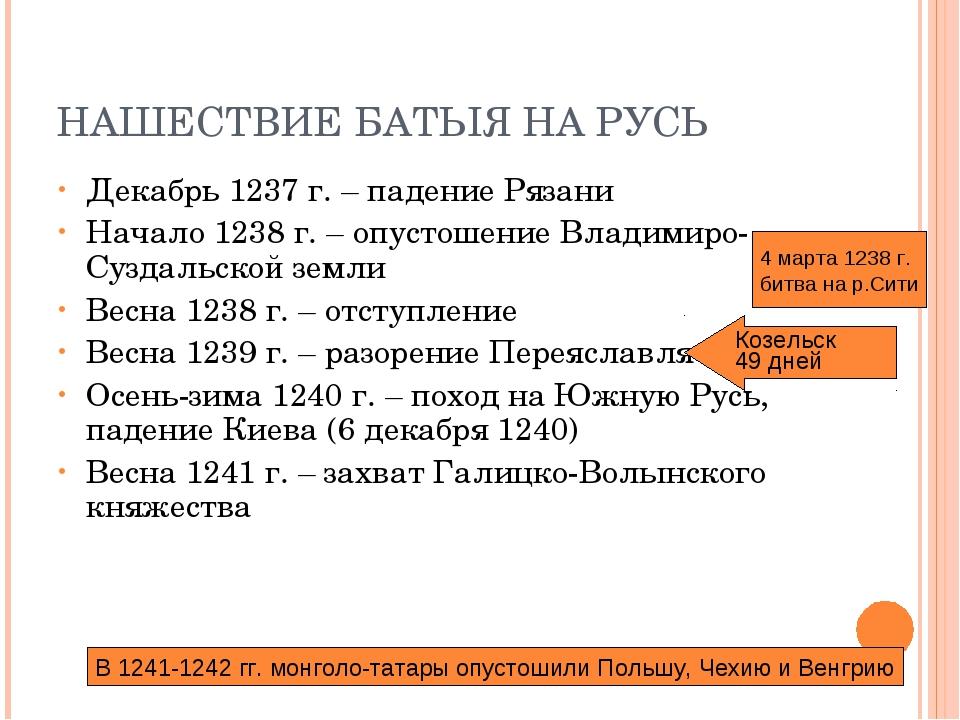 НАШЕСТВИЕ БАТЫЯ НА РУСЬ Декабрь 1237 г. – падение Рязани Начало 1238 г. – опу...