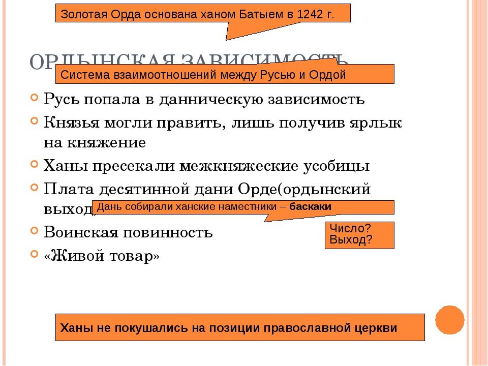 ОРДЫНСКАЯ ЗАВИСИМОСТЬ Русь попала в данническую зависимость Князья могли прав...