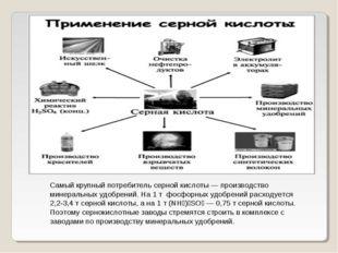 Самый крупный потребитель серной кислоты— производство минеральных удобрени