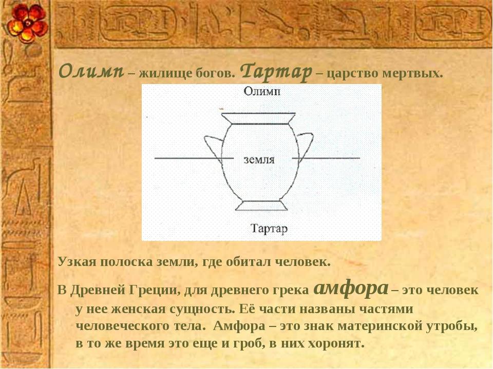 Олимп – жилище богов. Тартар – царство мертвых. Узкая полоска земли, где обит...