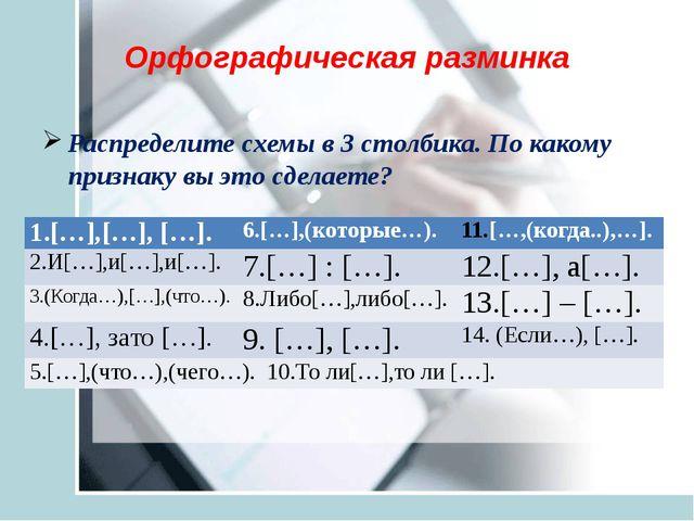 Орфографическая разминка Распределите схемы в 3 столбика. По какому признаку...
