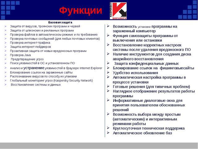 Функции Базовая защита Защита от вирусов, троянских программ и червей Защита...