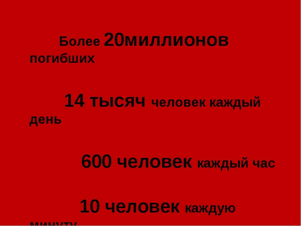 Более 20миллионов погибших 14 тысяч человек каждый день 600 человек каждый ч...
