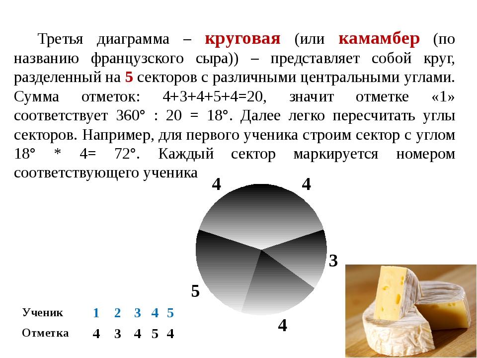 Третья диаграмма – круговая (или камамбер (по названию французского сыра)) –...