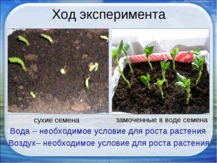 Ход эксперимента сухие семена замоченные в воде семена Вода – необходимое усл