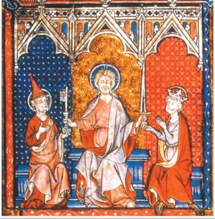 C:\Users\Администратор\AppData\Local\Microsoft\Windows\Temporary Internet Files\Content.Word\Иисус вручает ключ папе римскому, а меч императору. Миниатюра XIII в. (Рисунки).jpg