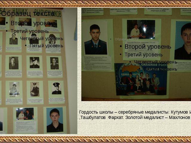 Гордость школы – серебряные медалисты: Кутумов Ильдар ,Ташбулатов Фархат. Зо...