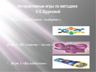Интерактивные игры по методике Н.Е.Щурковой Игра 1 «Предлагаю –выбираю » Игра