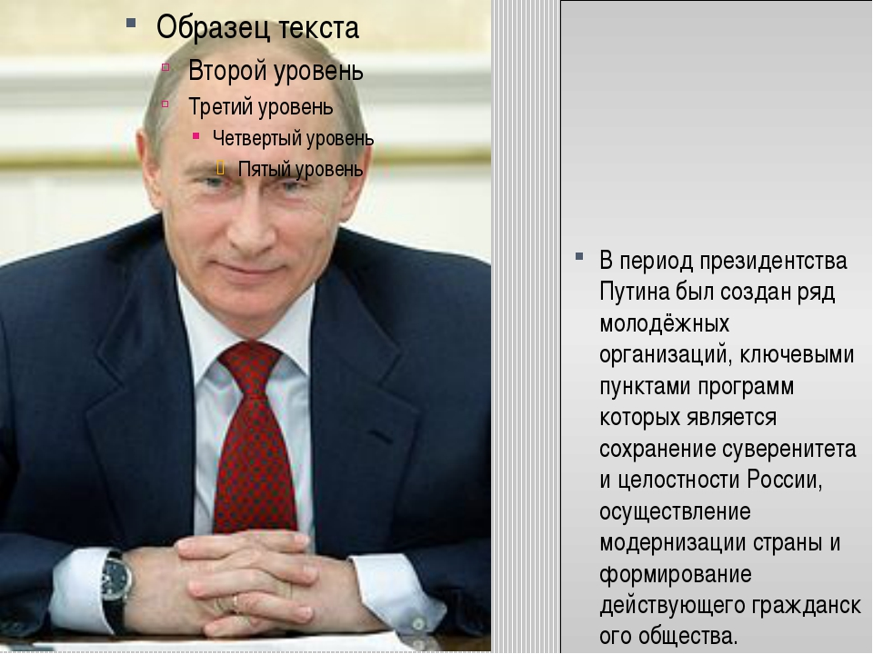 В период президентства Путина был создан ряд молодёжных организаций, ключевы...