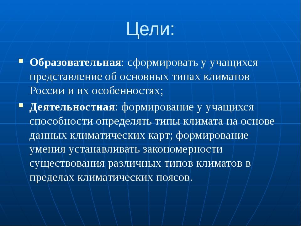 Цели: Образовательная: сформировать у учащихся представление об основных типа...