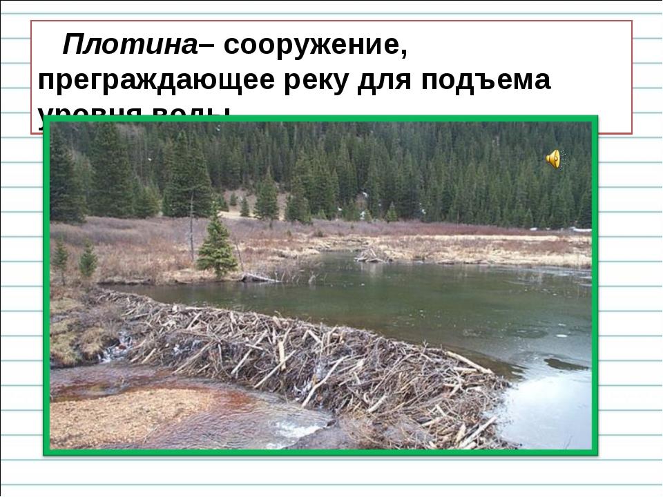 Плотина– сооружение, преграждающее реку для подъема уровня воды.