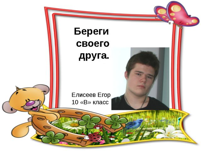 Береги своего друга. Елисеев Егор 10 «В» класс