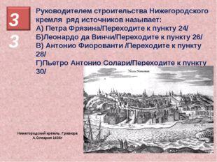Руководителем строительства Нижегородского кремля ряд источников называет: А)