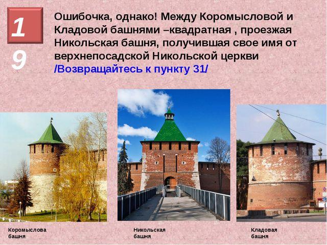 Ошибочка, однако! Между Коромысловой и Кладовой башнями –квадратная , проезжа...