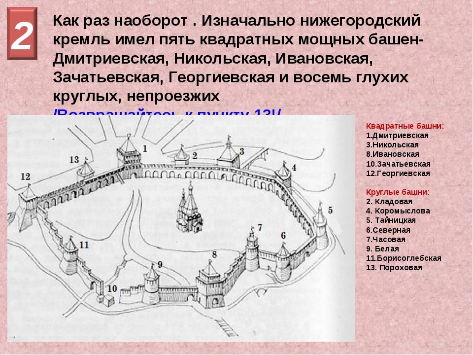 Как раз наоборот . Изначально нижегородский кремль имел пять квадратных мощны...