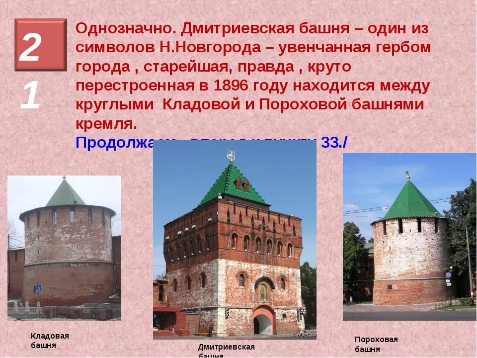 Однозначно. Дмитриевская башня – один из символов Н.Новгорода – увенчанная ге...