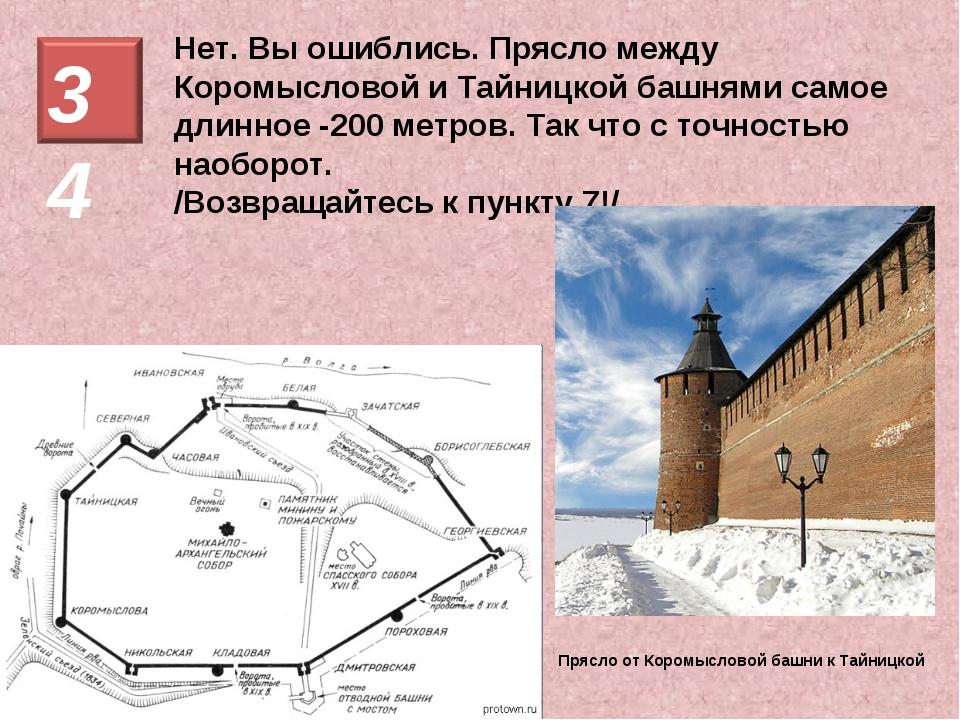 Нет. Вы ошиблись. Прясло между Коромысловой и Тайницкой башнями самое длинное...