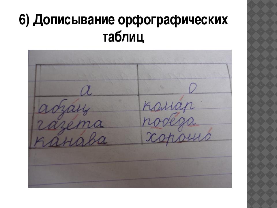 6) Дописывание орфографических таблиц