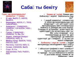Сабақты бекіту Сурет материалдарының химиялық құрамы Көмір: Na2S; С; Al2O3;