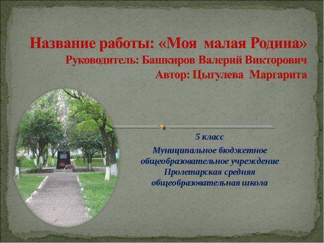 5 класс Муниципальное бюджетное общеобразовательное учреждение Пролетарская с...