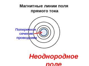 Магнитные линии поля прямого тока Поперечное сечение проводника Неоднородное