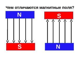 Чем отличаются магнитные поля? N S S N