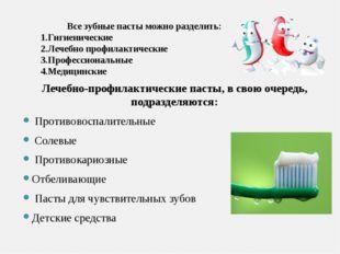 Лечебно-профилактические пасты, в свою очередь, подразделяются: Противовоспа