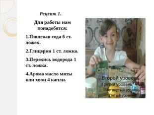Рецепт 1. Для работы нам понадобятся: 1.Пищевая сода 6 ст. ложек. 2.Глицерин