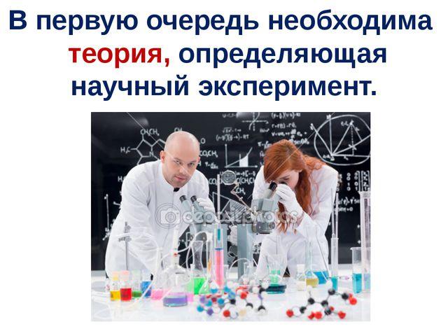 В первую очередь необходима теория, определяющая научный эксперимент.